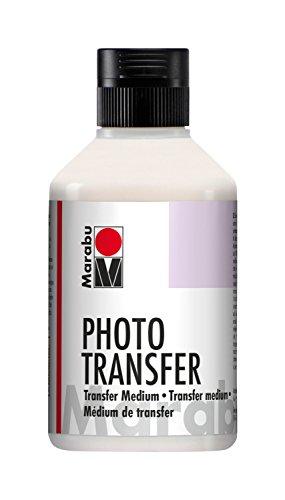 Marabu 11410013852 - Transparentes Photo Transfer Medium, 250 ml Flasche, auf Wasserbasis, zum Übertragen von Laser-Papierausdrucken auf Holz, Keilrahmen, Glas, Keramik, Metall, Pappmaché und Kerzen