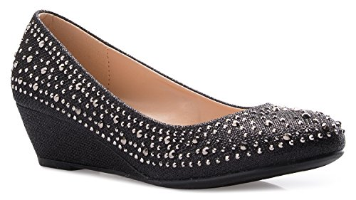Olivia K Women's Close Round Toe Low Wedge Glitter...