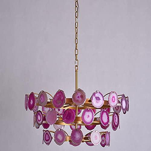 LLLKKK Lámpara de techo de ágata, para salón, escaleras, restaurante, G9, luz cálida, creativa, piedra de color lila, 15 luces
