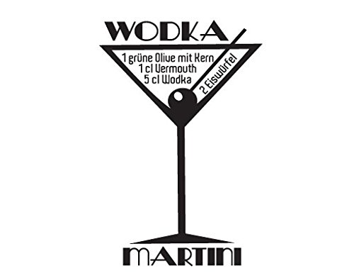 Apalis Wandtattoo No.JO35 Wodka Martini Cocktail Rezept Party Wodka Alkohol, Farbe:Dunkelrot;Größe:135cm x 90cm