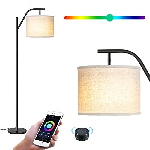 Wellwerks Lámpara de Pie, Moderna Lámpara de Lectura Temperatura de Color Ajustable y RGB Luz Regulable, WiFi Inteligente APP Control con Amazon Alexa /Google Home
