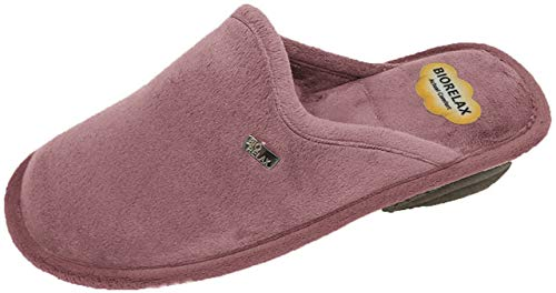 Zapatilla de Estar por casa/Biorelax/Mujer/4 Colores/Cuña 3cm/Empeine Suapel/Suela Goma/Cámara de Aire/Color Rosa Salmón/Talla 36