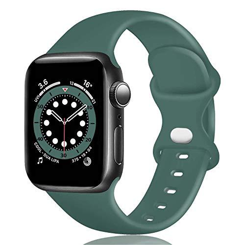 TopPerfekt Correa de Silicona Compatible con Apple Watch Correa de 38 40 42 44 mm, Correas de Repuesto de Silicona para iWatch Series 6 5 4 3 2 1 SE (38/40mm-S/M, Verde Oliva)