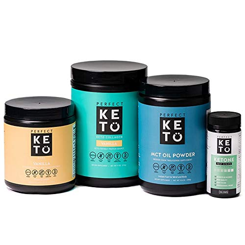 Perfect Keto Starter Bundle for Ketogenic Diet - Best to Burn Fat and Support Energy - Exogenous Ketone Base, MCT Oil Powder, Grass-Fed Keto Collagen and Ketone Testing Strips (Vanilla)