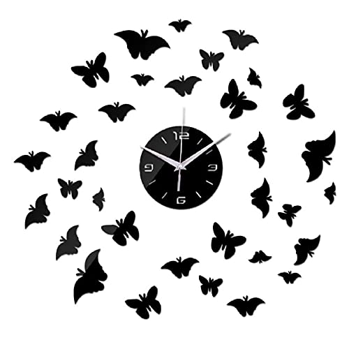 Espejo 3D Arte de la Pared Reloj acrílico Nuevo diseño Moderno Reloj DIY decoración del hogar Real Relojes novedosos Caja Fuerte-Negro