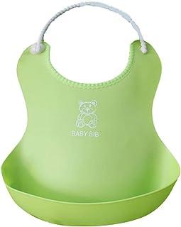 DLINF Baby Feeding Bib 3D Meal Pocket Waterproof Imitation Silicone Infant Food Saliva Towel Green