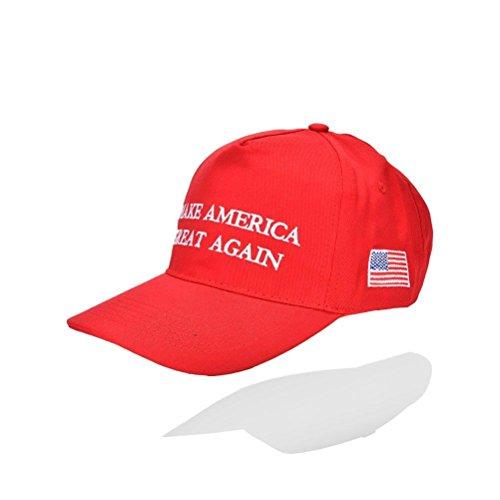 "Welecom, Donald Trumps Wahlkampf-Kappe 2016, mit Stickerei ""Make America Great Again"", rot"