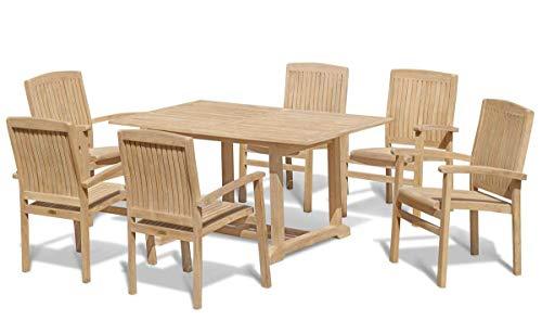 Jati Portofino 7 Piece Teak Garden Furniture Set - Teak Garden Table and 6 Stacking Chairs Set Brand, Quality & Value