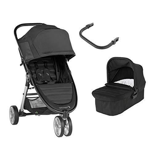 Baby Jogger City Mini 2 Duo Jet - Cochecito compacto de 3 ruedas + capazo + barra delantera en color negro