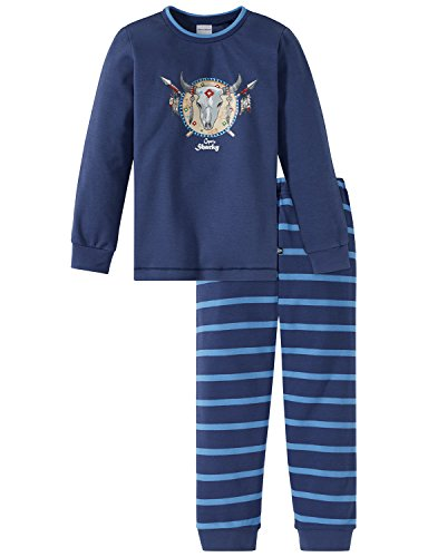 Schiesser Jungen Capt´n Sharky Kn lang Zweiteiliger Schlafanzug, Blau (Blau 800), 104