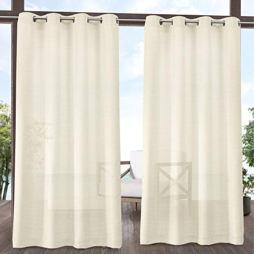 Exclusive Home Curtains Miami GT Sheer Textured Indoor/Outdoor Grommet Top Curtain Panel Pair, 54x96, Ivory