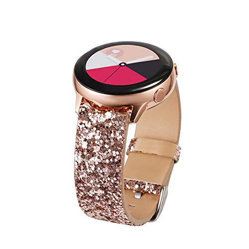 Glitter Band Compatible With Samsung Galaxy Watch 42mm/Active 2 40mm 44mm/Watch 3 41mm/Active 40mm/Gear S2 Classic/Gear Sport Bands, 20mm Strap Womens Bling Glitter Leather Wristband (Rose Gold)