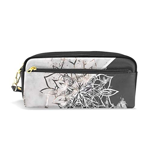 Lawenp Large Capacity Pencil Case and PU Leather Pen Bag Yin Yang Mandala On Marble 1 Decor Art Zipper Stationery Supplies Pencil Pouch Comestic Makeup Bag for Girls and Boys