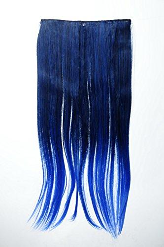 WIG ME UP - YZF-3179P-1BTTTF2517 Extension capillaire clip-in 5 clips large lisse dégradé bicolore 60 cm mélange noir-bleu néon