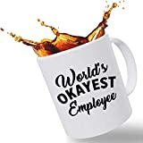 Best Funny Mugs Promotion Gift, World's Okayest Employee Funny Coffee Mug 11 oz Handcrafted Porcelain Gift Mug, Hilarious Coffee Mug Funny for Mom, Dad, Coworker, Employees and Friends