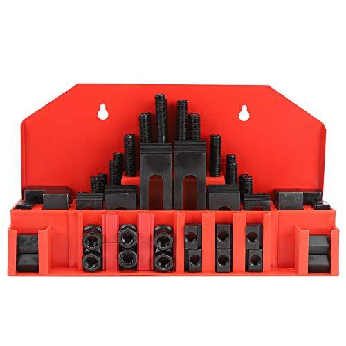 Juego de abrazadera con ranura en T de 58 piezas, juego de maquinista de molino, placa de prensa combinada endurecida para fresadora de torno, tuercas M10, espárragos, accesorios combinados universale