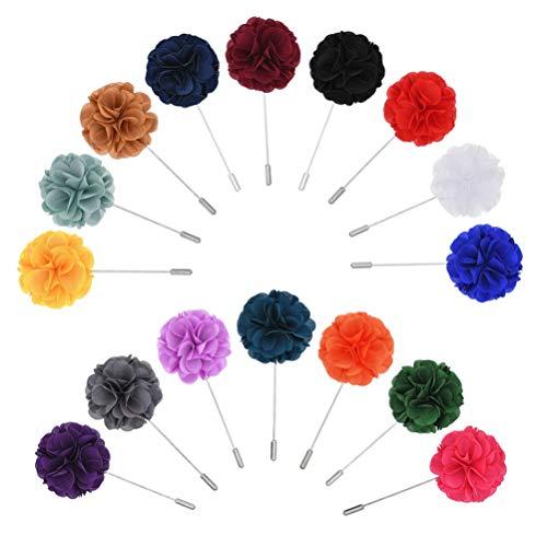 PRETYZOOM 16 broches de flores para hombre, para cuello, pin, broche para...