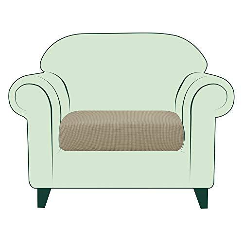 CHUN YI 1 Stück Sofa Sitzkissenbezug Stretch Sitzkissenschutz Elastischer Husse Überzug für Sofa Sitzkissen rutschfest Stoff Möbelschutz(1-Sitzer, Sand)