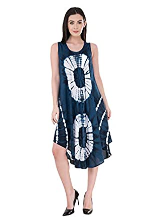 SAAKAA Women's Rayon Navy Blue Knee Lenght Printed Dress
