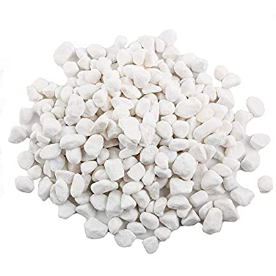 CJGQ White Pebbles for Plants Garden Vases 3 lb White Rocks Gravel Decorative Stone 1/2""