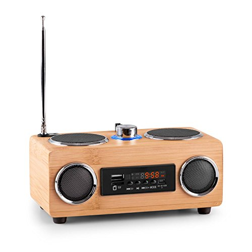 oneConcept Bamboost 3G Radio (USB, microSD, MP3, AUX, FM Radio, 30 stations, Broadband Speaker, removable battery, LED display, Telescopic antenna) - Bamboo finish