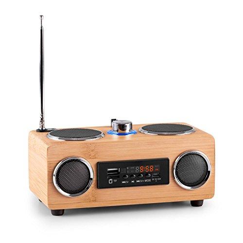 OneConcept Bamboost 3G - Bambus-Lautsprecher, Mini-Boombox, UKW Radio, Echtholz-Gehäuse, USB/SD Port, Breitband-Lautsprecher, Teleskopantenne, Nokia-Akku und Ladekabel, AUX, braun