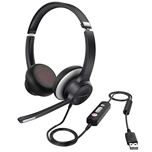 Soulsens USB Headset with Microphone Noise Cancelling, Clear Sound, 3.5mm Office Headphone with Comfor Fit Earpad, Business PC Headset for Skype, Webinar, Cell Phone, Call Center