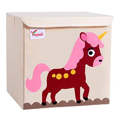 Caja de almacenamiento para niños, caja de almacenamiento para niños con tapa, caja de juguetes lavable y plegable, idea para estantes Kallax para el dormitorio de los niños (Unicorn)