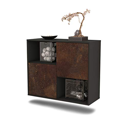 Dekati Sideboard Modesto hängend (92x77x35cm) Korpus anthrazit matt | Front rostigen Industrie-Design | Push-to-Open
