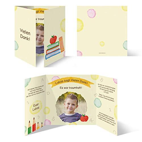 30 x Dankeskarten zur Einschulung individuell mit Text und Foto als Quadrat Altarfalz Klappkarte 148x148mm - Schulreif