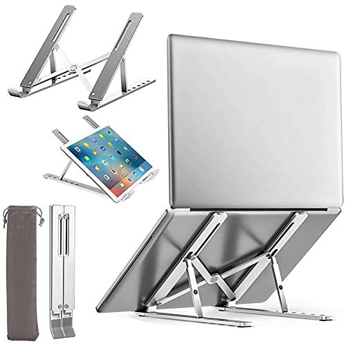 Laptop Stand, Upgrade High Strength Aluminum Anti-Slip Computer Holder Laptop Riser, Ergonomic 6-Levels Adjustable Ventilated Notebook Stand, for MacBook Pro Air, iPad, Dell, Lenovo