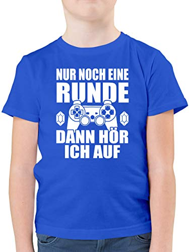 Sprüche Kind - Nur noch eine Runde - 152 (12/13 Jahre) - Royalblau - Tshirt Kinder 164 lustig - F130K - Kinder Tshirts und T-Shirt für Jungen
