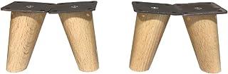 comprar comparacion patas para muebles madera haya. Patas cónicas con inclinación, y placa de montaje ya instaladas. 8 cm alto color natural (...