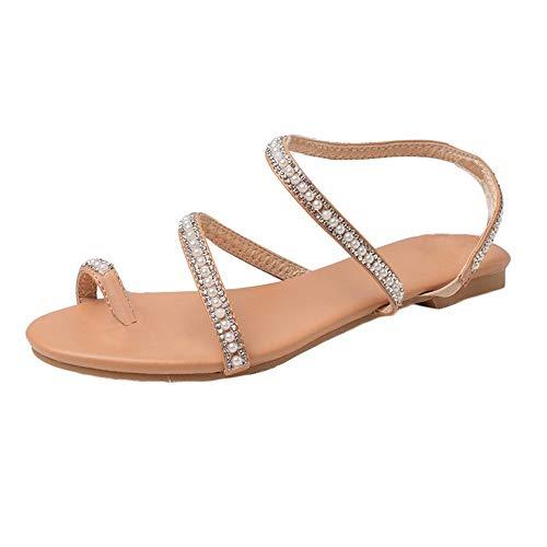 Crystal Sandals for Women, Bohemia Flat Gladiator Sandals, Toe Ring with Rhinestone, Summer Beach Wedding Sandal Shoes