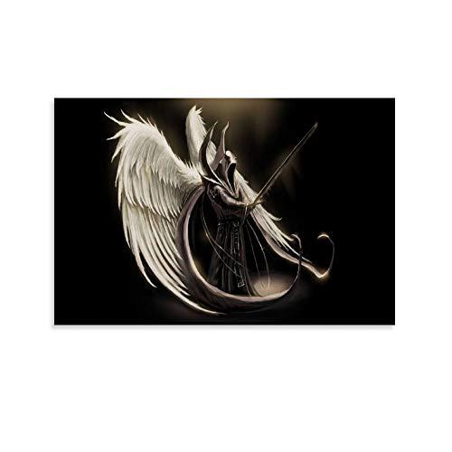 Póster de ángel con espada de demonio de guerra y halo de anime Art moderno, pintura decorativa sobre lienzo para pared, para sala de estar, dormitorio, 40 x 60 cm