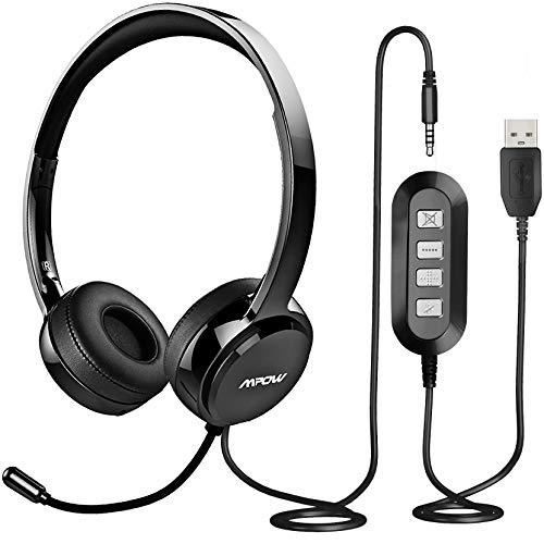Mpow Auriculares Micrófono PC, Auriculares con Cable Telefono USB/3.5mm, Cancelación de Ruido, para Skype, iPad, Oficina