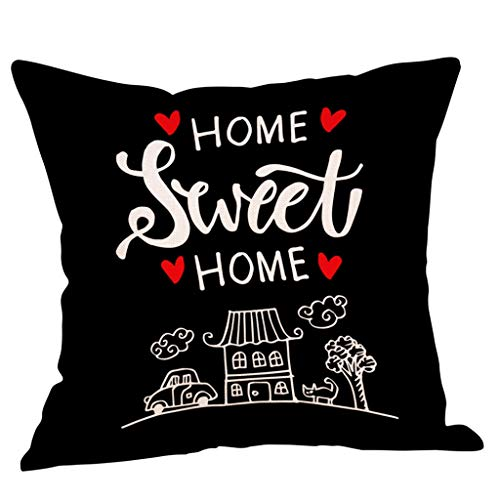 OPAKY Sweet Home Cotton Linen Square Dekokissen Cases Home Decor Sofakissenbezug, Mezcla de Lino, H, 45 x 45 cm