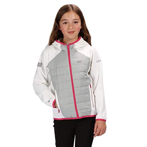 Regatta Kielder IV Extol Stretch-Jacke für Kinder, wasserabweisend, leicht, isoliert, Kinder, Steppjacken, RKN083, Weiß (weiß/heller Stahl), 15-16 Jahre