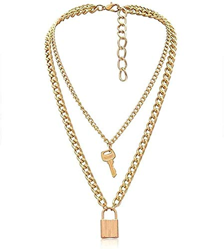 Ahuyongqing Co.,ltd Collar Collar Punk Lock Key Colgante Gargantilla Miami Cadena Gruesa Collar Joyas para Mujeres