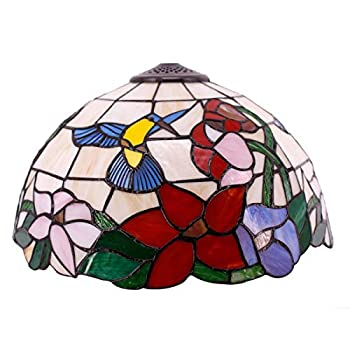 Tiffany Lamp Shade Replacement W16H7 Inch Stained Glass Hummingbird Lampshade for Table Lamps Floor Lamp Ceiling Fixture  3 Hooks Inside Pendant Hanging Light S101 WERFACTORY Home Office Decoration