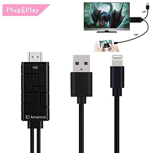 Compatible with iPad iPhone to TV HDMI Adapter Cable,1080P High Resolution HDMI Adapter Cable,Support 1080P HDTV Compatible with iPhone 11Pro Xs MAX X 8 7 6 Plus, iPad to TV Projector