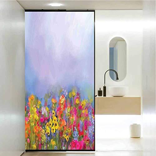Vinilo 3D decorativo para ventana, tulipanes florecientes con hojas verdes en el Botani, película de vidrio estático para baño, oficina, sala de reuniones, sala de estar, 23.6 x 47.2 pulgadas