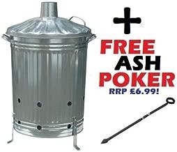 Large 90 Litre Incinerator Burning Fire Bin Rubbish Paper Leaves Burner with Poker
