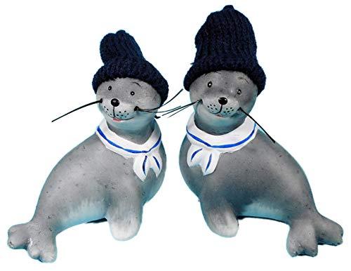 Juego de 2 figuras de foca Moin con gorro de caniche, 10 x 10 cm, foca de playa, lago, mar marítimo, figura decorativa GWH 236858