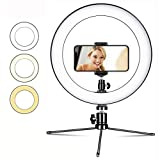 Luz de Relleno, Anillo de luz con Soporte de Trípode Ajustable y Soporte for Teléfono, luz Regulable LED de Escritorio Mini, for Telefono Camara Youtube Selfie Video de Maquillaje (Color : White)