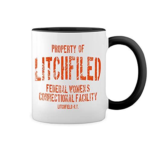 Litchfield Prison Inspired Orange Is The New Black Blanca taza de caf con RIM Negro y manija Mug