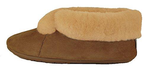 Qwaruba Parisian Suede Sole Sheepskin Slipper (Wo 9) Chestnut Brown