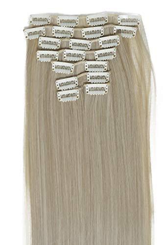 PRETTYSHOP XXL 60cm 8 teiliges SET Clip In Extensions Haarverlängerung Haarteil hitzebeständig glatt blond 16T613 CES25