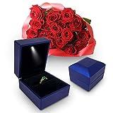 Caja De Anillo De Compromiso, LED Iluminado Hasta Almacenamiento Vitrina Para Monedas, Joyas Para La Propuesta, Caja Creativa Para Anillos, Caja de Regalo Para Compromiso Matrimonial