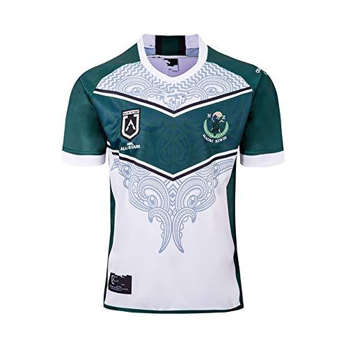 YHANS 19-20 Rugby Kleidung Maori All-Star Rugby Jersey, schnelltrocknende Männer Rugby-Fan-Hemden Breathable Polo Shirt Kurzarm,M